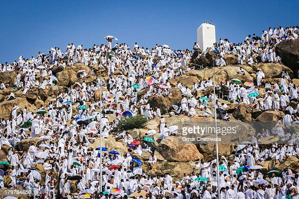 mount arafat during hajj - pilgrimage stock pictures, royalty-free photos & images