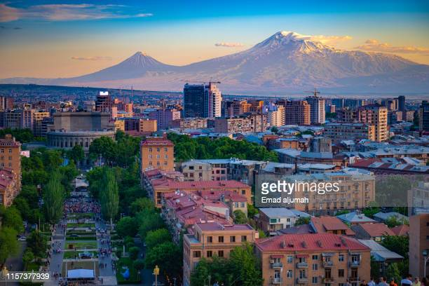 mount ararat view from  the cascade complex, yerevan, armenia - yerevan stock pictures, royalty-free photos & images