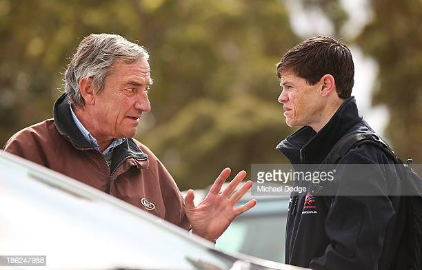 Mount Athos trainer Luca Cumani gestures to jockey Craig Williams after the horse galloped during trackwork at Werribee Racecourse on October 30 2013...