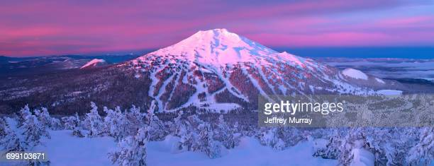 mount bachelor ski resort located in central oregon about 20 miles from the town of bend. - bend oregon stock photos and pictures