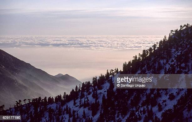 mount baldy at sunset - mount baldy stock photos and pictures