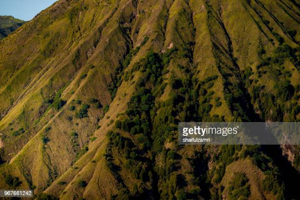 mount batok (2,470m), though lying adjacent to mount bromo. with a perfect triangular mountain top, rising from a sea of volcanic ash surrounding the mount bromo caldera. east java of indonesia. - shaifulzamri stock-fotos und bilder