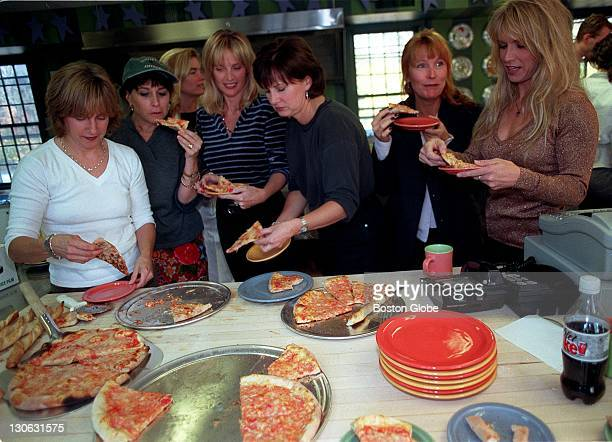 Mount Blue Pizza from left to right Karen Whitford wife of Brad Whitford Terry Hamilton wife of Tom Hamilton Jayne Bowe in background one of the...