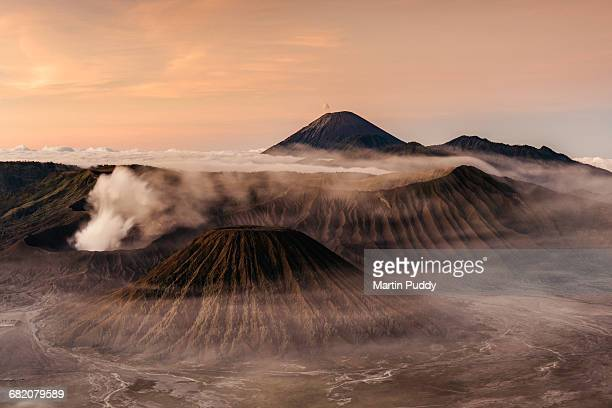 mount bromo and semeru at sunrise - jakarta stock pictures, royalty-free photos & images
