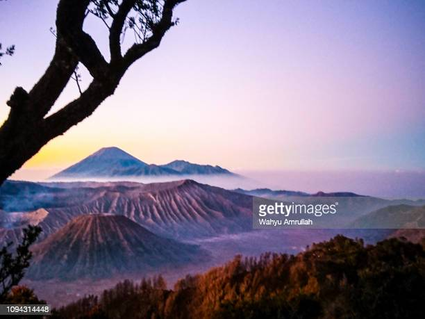 mount bromo in the morning mist - tengger stock pictures, royalty-free photos & images