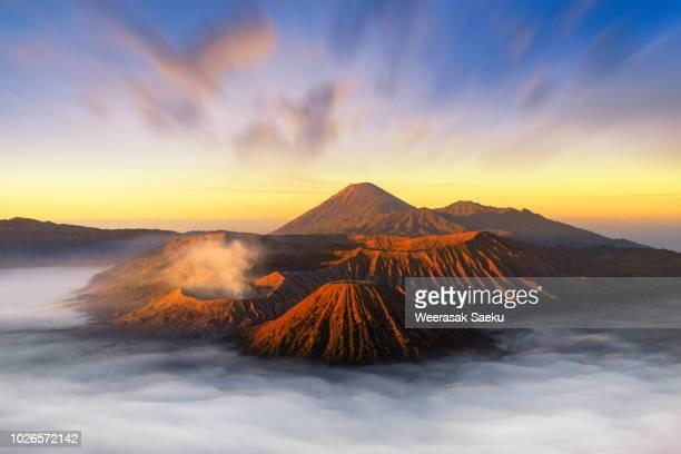 mount bromo indonesia - bromo tengger semeru national park stock photos and pictures