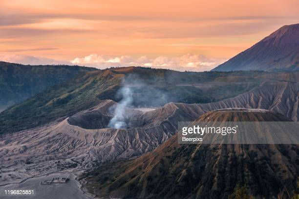 mount bromo, is an active volcano and part of the tengger massif, in east java, indonesia. - bromo crater stock pictures, royalty-free photos & images