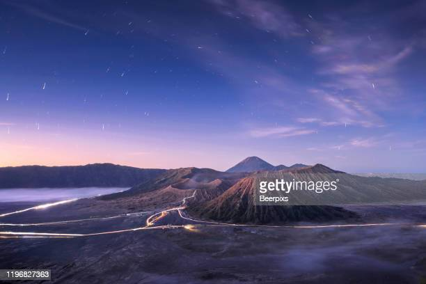 mount bromo, is an active volcano and part of the tengger massif, in east java, indonesia. - bromo tengger semeru national park stock pictures, royalty-free photos & images