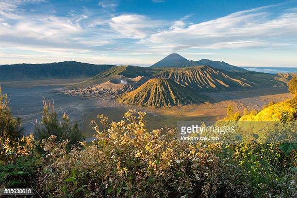 mount bromo overlook at sunrise, east java, indonesia. - bromo crater stock pictures, royalty-free photos & images