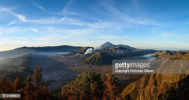 mount bromo panorama - bromo crater stock photos and pictures