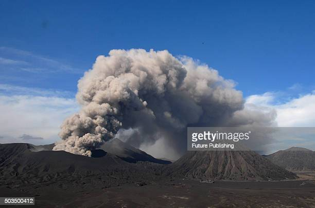 Mount Bromo spewing volcanic ash material during eruption at Cemoro Lawang on January 05, 2016 in Probolinggo, Indonesia. Indonesia's Mount Bromo is...