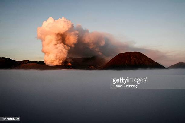 Mount Bromo spews ash into air during a volcanic eruption on July 19 2016 in Probolinggo Indonesia Great Hall of the Bromo Tengger Semeru National...