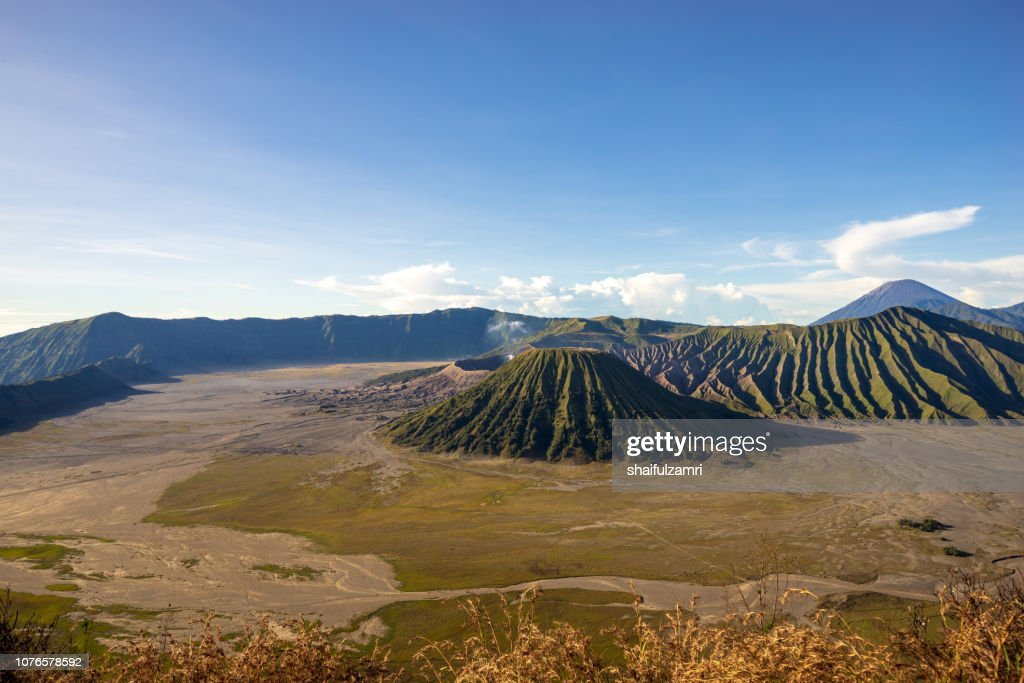 Mount Bromo volcano (Gunung Bromo) during sunrise from viewpoint on Mount Penanjakan, in East Java, Indonesia. : Stock Photo