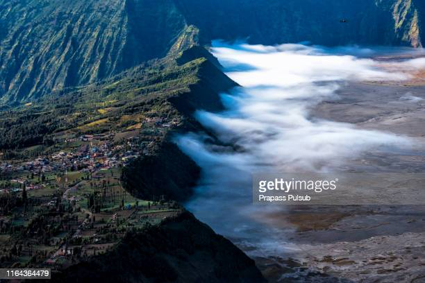 mount bromo volcano (gunung bromo) during sunrise from viewpoint on mount penanjakan in bromo - surabaya stock pictures, royalty-free photos & images