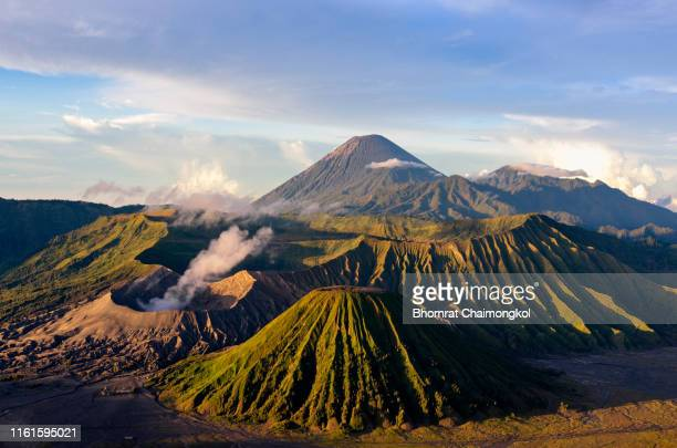 mount bromo volcano or gunung bromo during sunrise in bromo tengger semeru national park, east java, indonesia. - bromo tengger semeru national park stock pictures, royalty-free photos & images