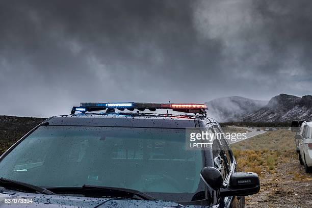 Mount Charleston WInter Storm Police Road Block