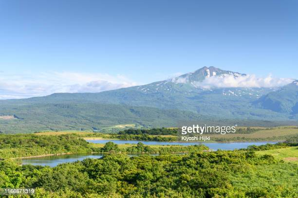 mount chokai view active volcano height 2236m located on akita and yamagata border in japan - 台地 ストックフォトと画像