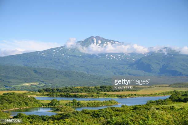 mount chokai view active volcano height 2236m located on akita and yamagata border in japan - 山形県 ストックフォトと画像