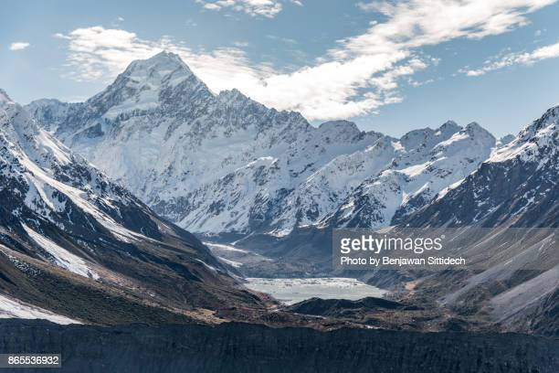 Mount Cook and Hooker lake, New Zealand