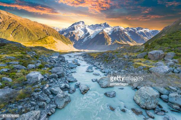 mount cook and  lake matheson new zealand - mountain range stock pictures, royalty-free photos & images