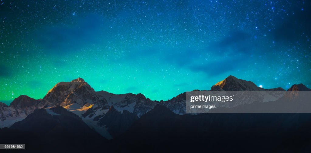 Mount Cook and Lake Matheson New Zealand with milky way : Stock Photo