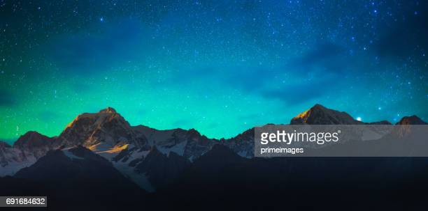 mount cook and lake matheson new zealand with milky way - landscape scenery stock photos and pictures
