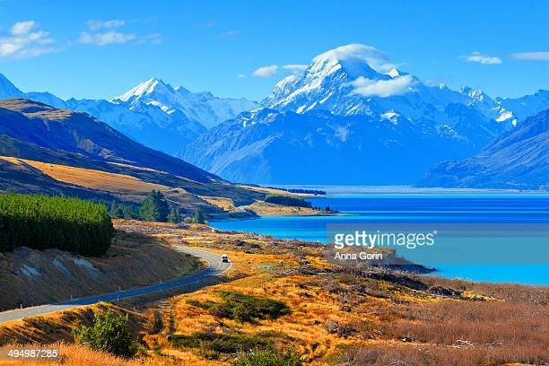 Mount Cook and west shore of Lake Pukaki, NZ