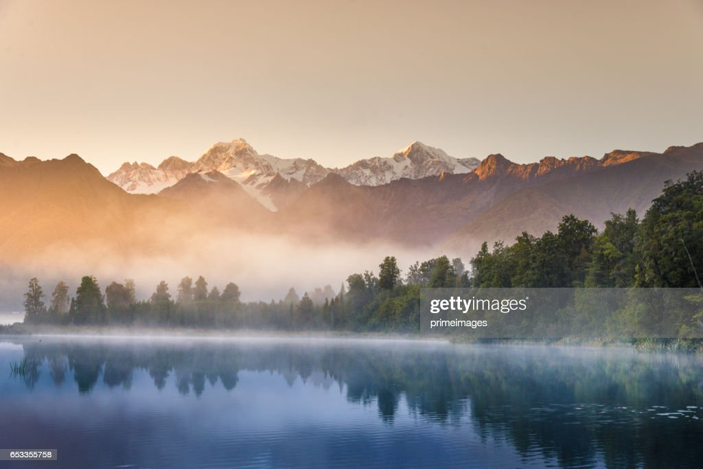 Mount Cook in Lake Matheson Nieuw-Zeeland : Stockfoto