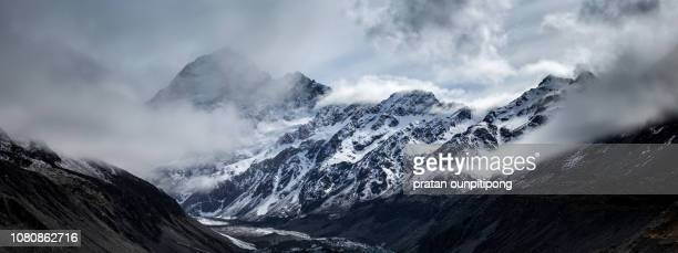 mount cook in panorama - atmospheric mood stock pictures, royalty-free photos & images