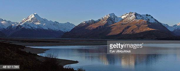 Mount Cook National Park View Of New Zealands Highest Mountain Mount Cook And Mount Johnson in Evening Sun