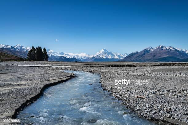 Mount Cook New Zealand Lake Pukaki Glacier Stream