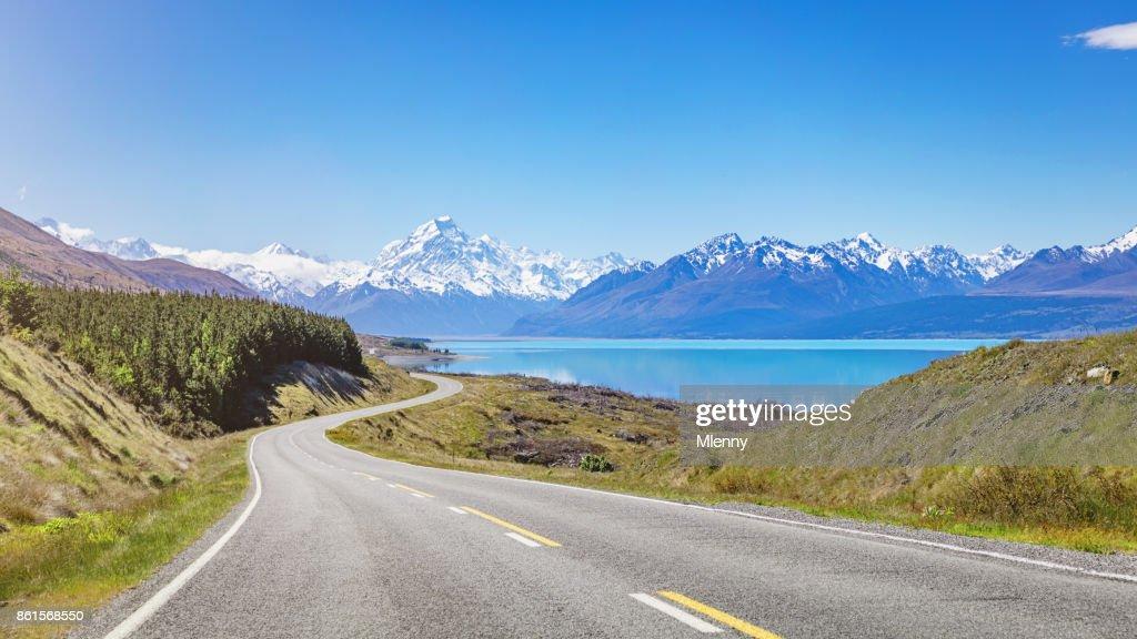 Mount Cook Road Trip Lake Pukaki New Zealand : Stock Photo