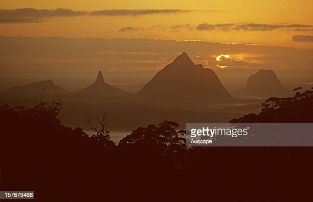 Mount Coonowrin and Mount Beerwah at dawn Glass House Mountains National Park Queensland Australia