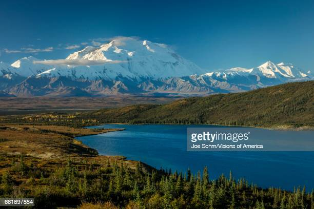 Mount Denali and Wonder Lake previously known as Mount McKinley the highest mountain peak in North America at 20 310 feet above sea level Alaska...