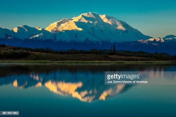 Mount Denali at Wonder Lake previously known as Mount McKinley the highest mountain peak in North America at 20 310 feet above sea level Located in...