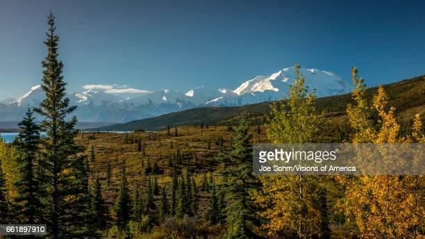 Mount Denali previously known as Mount McKinley the highest mountain peak in North America at 20 310 feet above sea level Alaska Mountain Range...