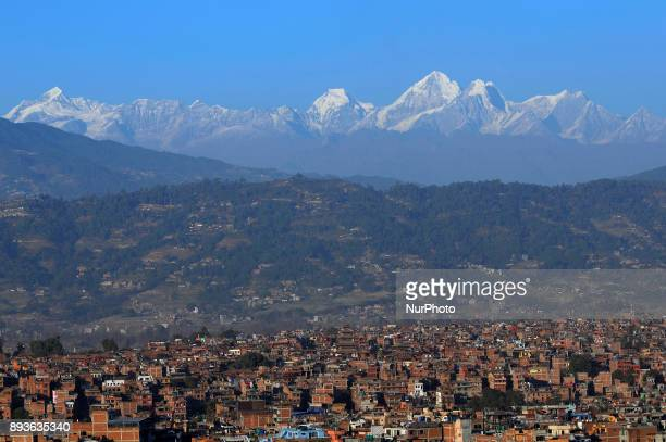Mount Dorje Lakhpa ranges and Bhaktapur an ancient Newar city seen from Bhaktapur Height Nepal on Friday December 15 2017