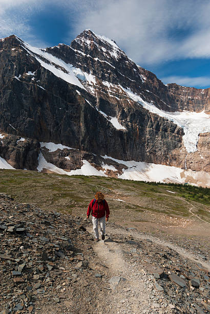 Mount Edith Cavell, hiker on trail