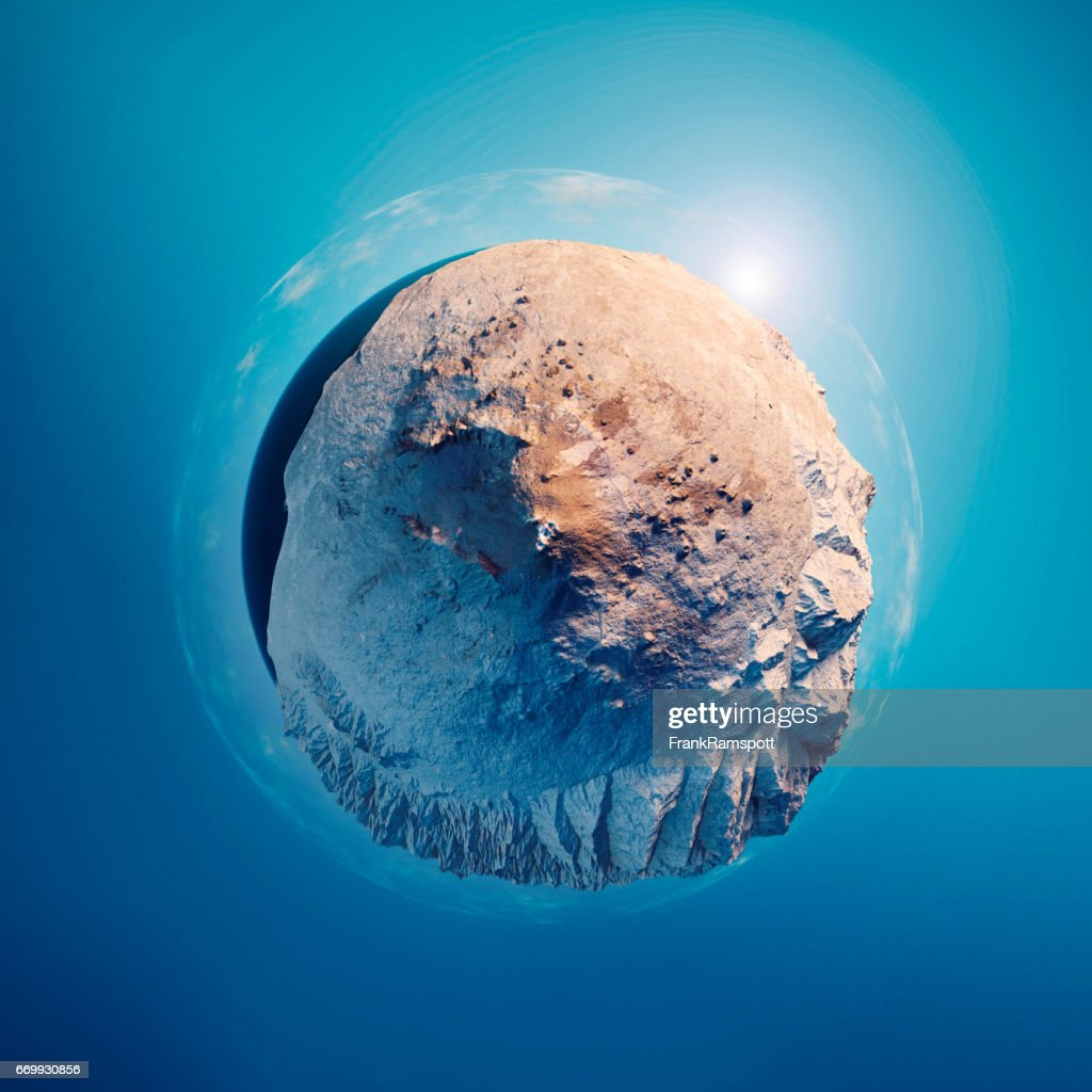 Mount Etna 3D Little Planet 360-Degree Sphere Panorama Blue : Stock Photo