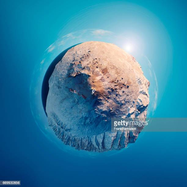 Mount Etna 3D Little Planet 360-Degree Sphere Panorama Blue