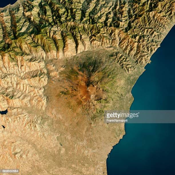 mount etna 3d render satellite view topographic map - frank ramspott stock pictures, royalty-free photos & images