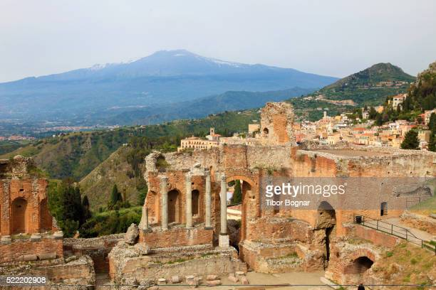 Mount Etna and greek theatre