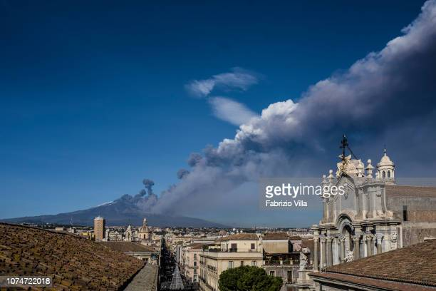 Mount Etna Europe's most active volcano erupts on December 24 in Catania Italy The eruption sent a large plume of ash into the sky and closed the...