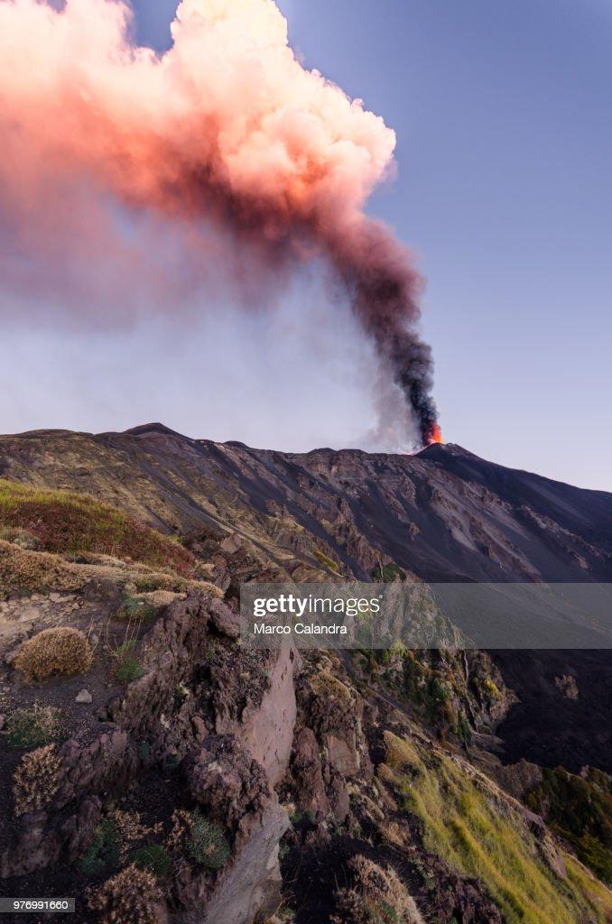 Mount Etna volcano erupting, Catania, Sicily, Italy : Stock Photo