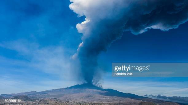 Mount Etna's eruption, loud roars with explosions have caused dense smoke with ash and lapilli on February 19, 2021 in Catania, Italy. . The lava...