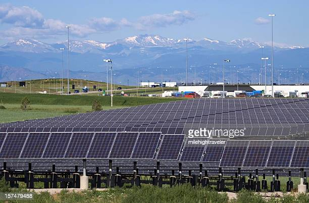 Mount Evans and solar panels at Denver International Airport