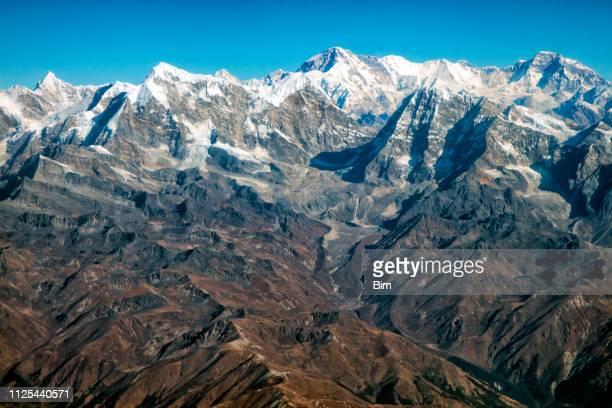 mount everest, aerial view, himalaya, nepal - kathmandu stock pictures, royalty-free photos & images
