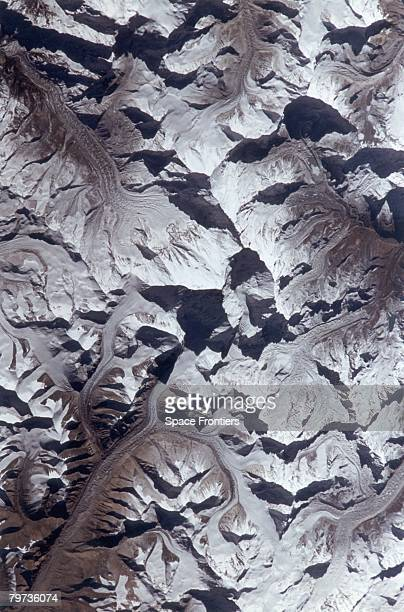 Mount Everest in the Himalayas as seen from the space shuttle Atlantis during NASA's STS66 mission November 1994 Also visible is Cho Oyu northwest of...
