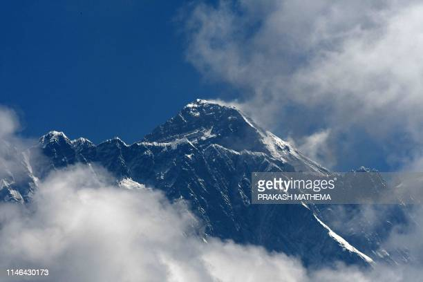 Mount Everest is seen in the Everest region, some 140 km northeast of Kathmandu, on May 27, 2019.