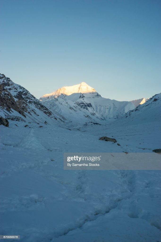 Mount Everest, North Face at sunset : Stock Photo